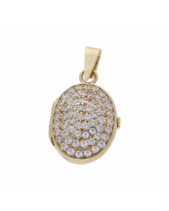 Pre-Owned 9ct Yellow Gold Cubic Zirconia Oval Locket Pendant