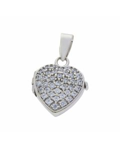 Pre-Owned 9ct White Gold Cubic Zirconia Heart Locket Pendant