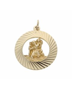 Pre-Owned 9ct Yellow Gold Framed Edge St.Christopher Pendant