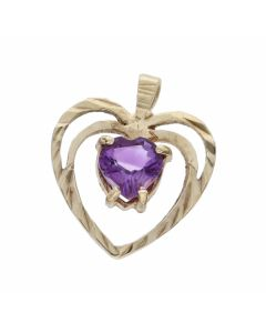 Pre-Owned 9ct Yellow Gold Amethyst Set Heart Pendant