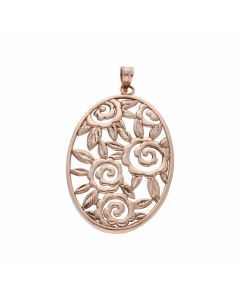 Pre-Owned 9ct Rose Gold Oval Filigree Pendant