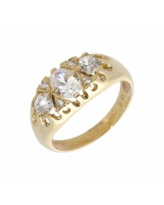 New 9ct Yellow Gold Cubic Zirconia Trilogy Style Dress Ring