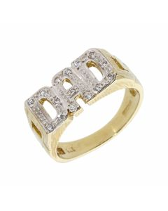 New 9ct Yellow Gold Cubic Zirconia Dad Ring