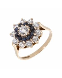 Pre-Owned 9ct Gold Blue & White Cubic Zirconia Cluster Ring