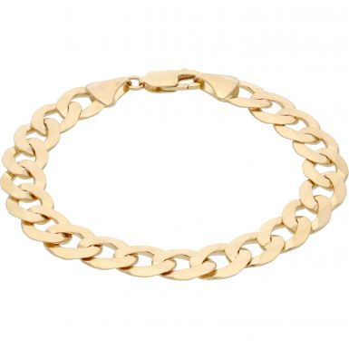 New 9ct Yellow Gold 8 Inch Solid Curb Link Bracelet 20g