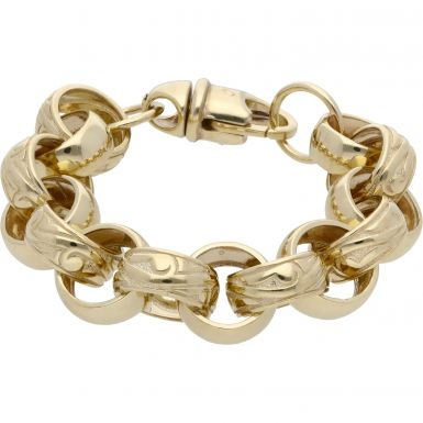New 9ct Gold 8 Inch Pattern & Polish Belcher Bracelet 1.4oz