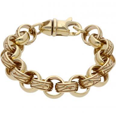"New 9ct Gold Heavy 8.5"" Pattern & Polish Belcher Bracelet 1.3oz"