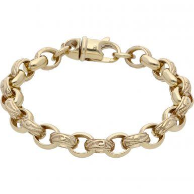 New 9ct Gold 7.5 Inch Pattern & Polish Oval Belcher Bracelet 23g