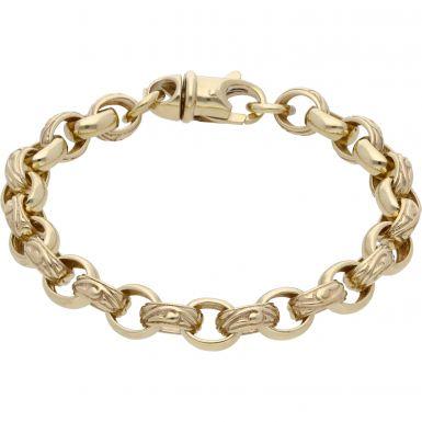 New 9ct Gold 8 Inch Pattern & Polish Oval Belcher Bracelet 25.4g