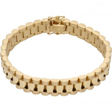 New 9ct Yellow Gold 7 Inch 10mm Width Rolex Style Bracelet 27g