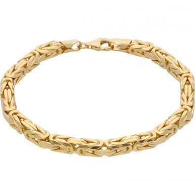 """New 9ct Yellow Gold 8.5"""" Byzantine Link Bracelet 1.1oz"""