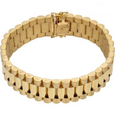 "New 9ct Yellow Gold 7.5"" 16mm Width Rolex Style Bracelet 1.3oz"