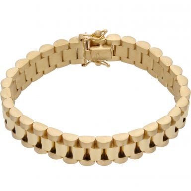 New 9ct Yellow Gold 6.5 Inch 10mm Width Rolex Style Bracelet 25g
