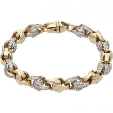 """New 9ct Gold 8.5"""" Cubic Zirconia Tulip/Belcher Bracelet 1.2oz"""