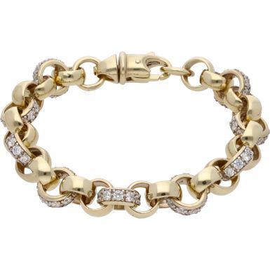 New 9ct Gold 8.5 Inch Cubic Zirconia Belcher Bracelet 1.1oz