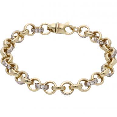 New 9ct Gold 8.5Inch Cubic Zirconia Belcher Bracelet 20.4grams