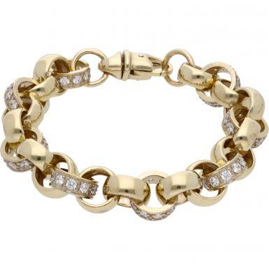 New 9ct Gold 8.5Inch Cubic Zirconia Heavy Belcher Bracelet 1.3oz