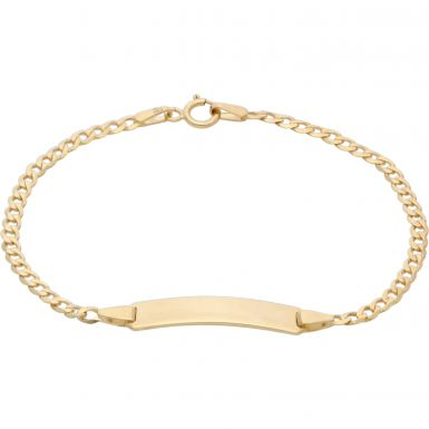 New 9ct Yellow Gold 6 Inch Curb Link Childs Identity Bracelet