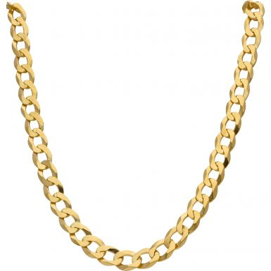 New 9ct Gold Solid 24 Inch Heavy Flat Curb Necklace 2oz