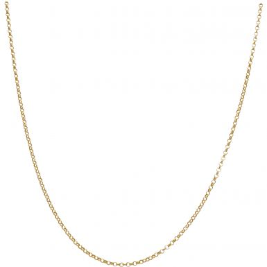"""New 9ct Yellow Gold 18"""" Hollow Round Belcher Chain Necklace"""