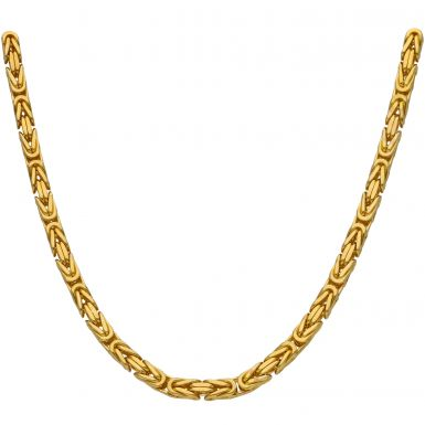 """New 9ct Yellow Gold Heavy 24"""" Square Byzantine Necklace 3.4oz"""