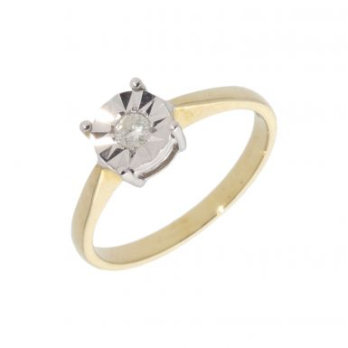 New 9ct Yellow Gold 0.10ct Illusion Set Diamond Solitaire Ring