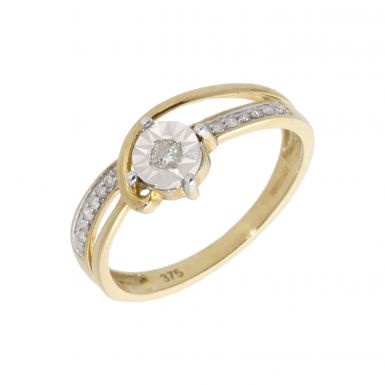 New 9ct Yellow Gold Diamond Soliaire Twist Ring