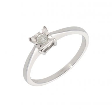 New 9ct White Gold 0.10ct Diamond Solitaire Ring