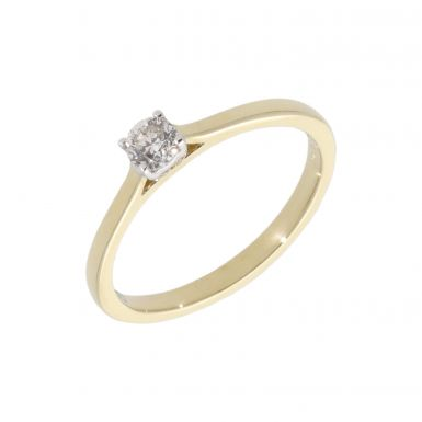 New 9ct Yellow Gold 0.25 Carat Diamond Solitaire Ring