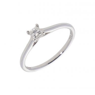 New 18ct White Gold 0.25ct Princess Cut Diamond Solitaire Ring