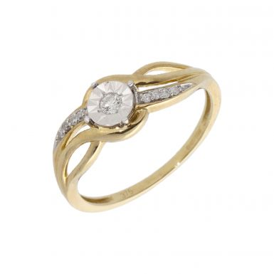 New 9ct Yellow Gold Diamond Solitaire Twist Ring
