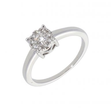 New 9ct White Gold 0.25ct Diamond Cluster Ring