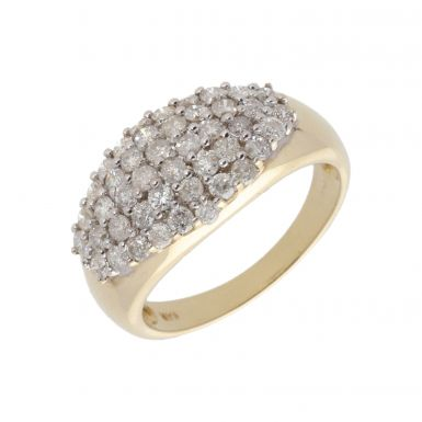 New 9ct Yellow Gold 1.00ct Diamond Wide Band Ring