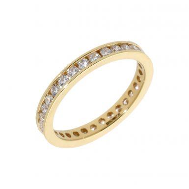 New 18ct Yellow Gold 1.00ct Diamond Full Hoop Eternity Ring