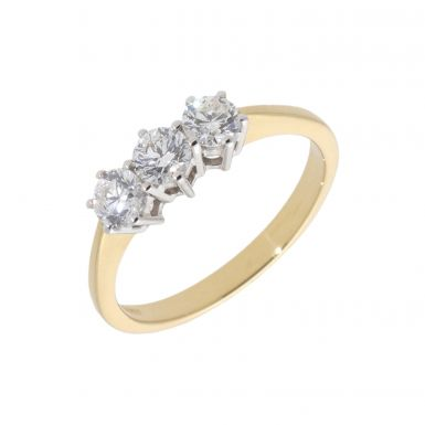 New 18ct Yellow Gold 0.78ct Diamond Trilogy 3 Stone Ring