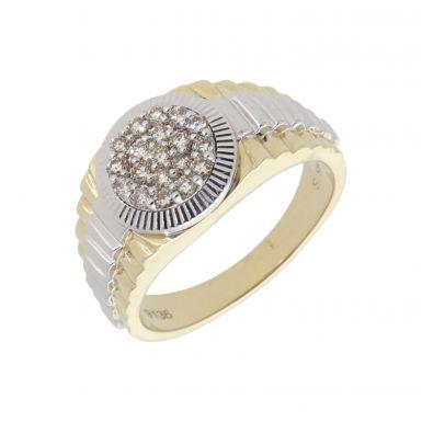New 9ct Gold 0.50ct Diamond Set Mens Ring Rolex Shoulder Detail