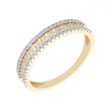 New 9ct Yellow Gold 0.20ct Diamond Filigree Eternity Style Ring