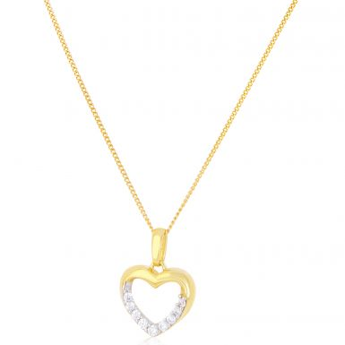New 9ct Gold Cubic Zirconia Heart Pendant & Chain Necklace