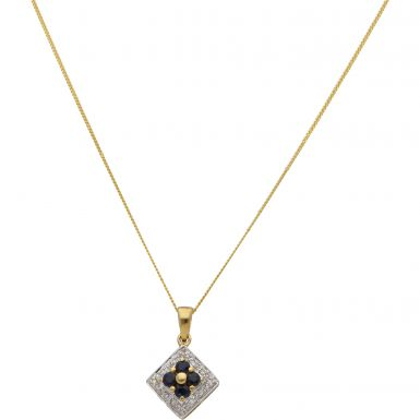 "New 9ct Yellow Gold Sapphire & Diamond Pendant & 18"" Necklace"