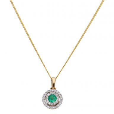 "New 9ct Yellow Gold Emerald & Diamond Halo Pendant & 18"" Chain"