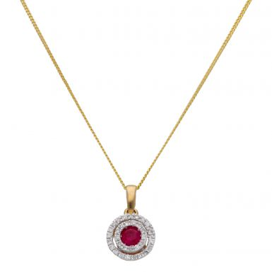 """New 9ct Yellow Gold Ruby & Diamond Halo Pendant & 18"""" Necklace"""