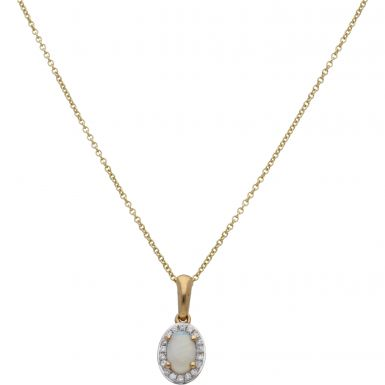 "New 9ct Yellow Gold Opal & Diamond Pendant & 16"" Necklace"