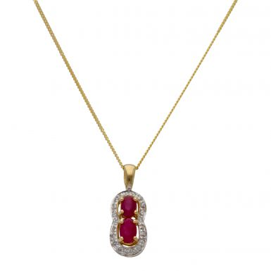 """New 9ct Yellow Gold Ruby & Diamond Pendant & 18"""" Necklace"""