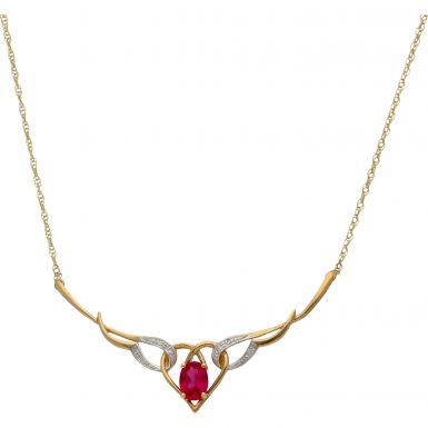 New 9ct Yellow Gold Ruby & Diamond 18 Inch Collar Necklace