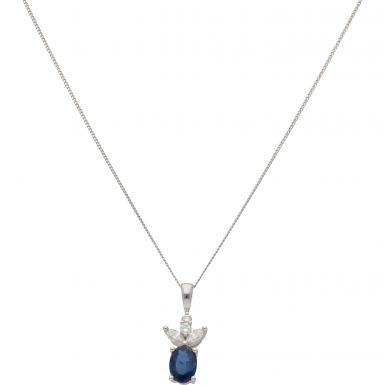 New 18ct White Gold Sapphire & Diamond Pendant & 18Inch Necklace