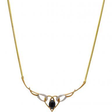 New 9ct Yellow Gold Sapphire & Diamond 18 Inch Collar Necklace