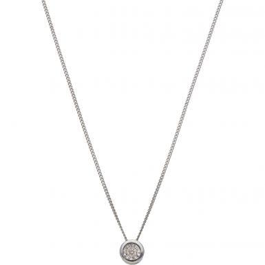 New 9ct White Gold Illiusion Diamond Slider Pendant & Necklace