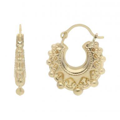 New 9ct Yellow Gold Baby Traditional Creole Hoop Earrings