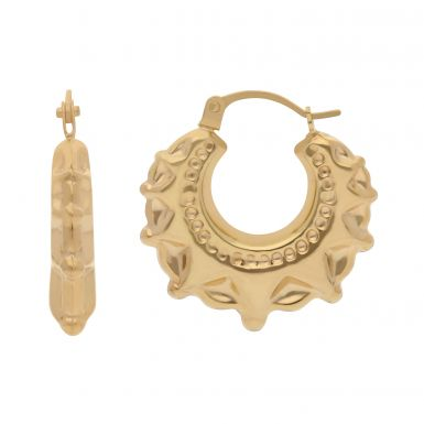 New 9ct Yellow Gold Round Small Traditional Creole Hoop Earrings