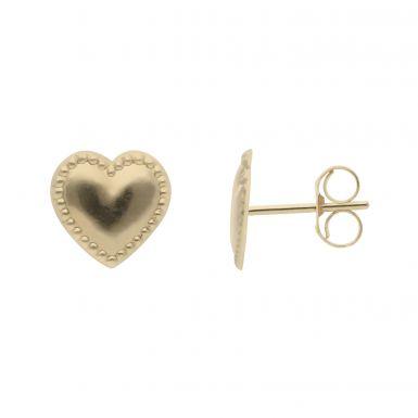 New 9ct Yellow Beaded Edge Heart Shaped Stud Earrings